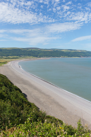 south west coast path: Porlock beach Somerset England UK near Exmoor and west of Minehead on the south west coast path view from Hurlstone Point towards Porlock Weir Stock Photo