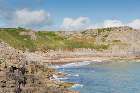 bristol channel: The Gower coast Fall Bay South Wales UK near to Rhossili beach and Mewslade Bay on Wales coast path