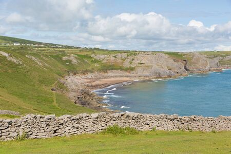 cymru: Fall Bay The Gower peninsula South Wales UK near to Rhossili beach and Mewslade Bay on Wales coast path