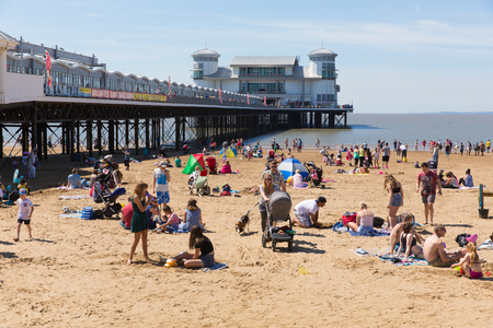 bristol channel: Summer Weston-super-Mare pier and beach Somerset with tourists and visitors enjoying the sun Editorial