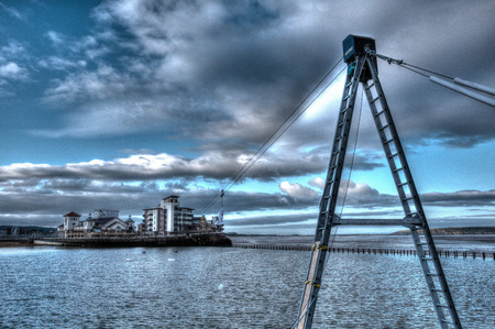 somerset: Knightstone island and Marine Lake with zip wire Weston-super-Mare Somerset England uk early morning in HDR