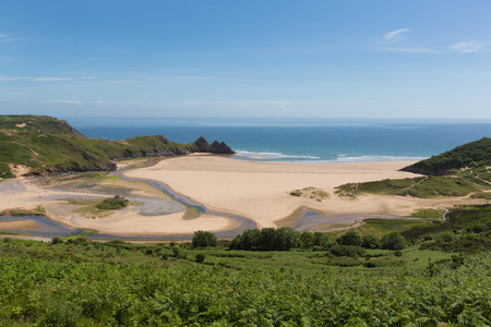 bristol channel: Three Cliffs Bay the Gower Wales uk Stock Photo
