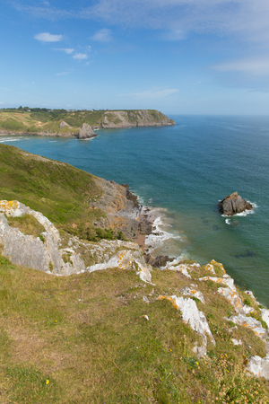 cymru: The Gower Peninsula coast near Three Cliffs Bay Wales uk popular tourist destination