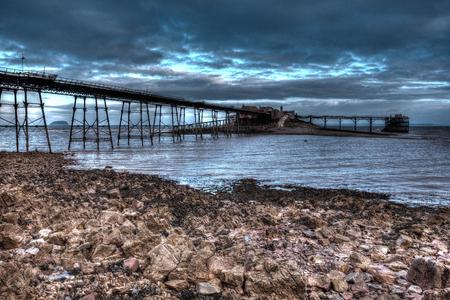 weston super mare: Birnbeck Pier Weston-super-Mare Somerset England in creative HDR