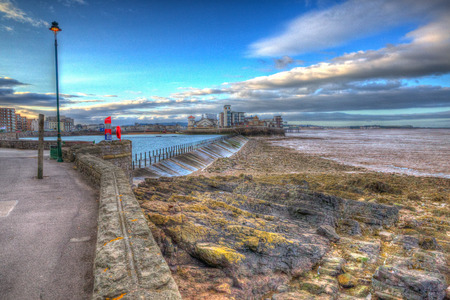 weston super mare: Marine Lake and Knightstone island Weston-super-Mare Somerset England uk early morning in colourful HDR Stock Photo