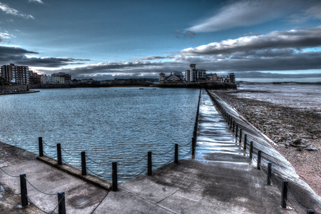 birnbeck: Marine Lake and Knightstone island Weston-super-Mare Somerset England uk early morning in colourful HDR Stock Photo