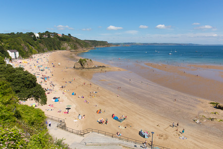 tenby wales: Tenby beach South Wales uk in summer with people
