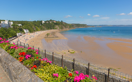 tenby wales: Tenby beach Wales uk in summer with tourists and visitors, blue sea and sky and colourful flowers in foreground