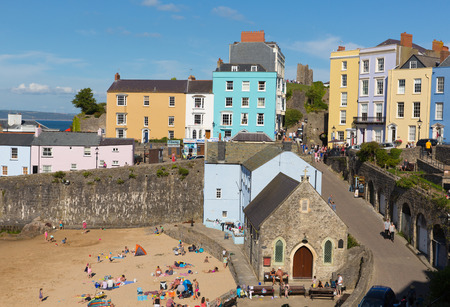 tenby wales: Tenby town Pembrokeshire Wales uk in summertime with tourists and visitors and blue sky