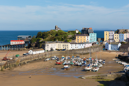 tenby wales: Tenby Pembrokeshire Wales uk in summer with boats and blue sky