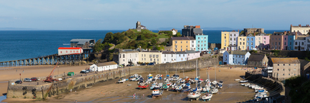 tenby wales: Tenby Pembrokeshire Wales uk harbour town and boats panorama