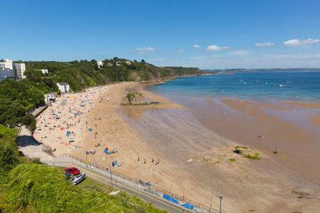 tenby wales: Tenby north beach and coast Pembrokeshire Wales historic Welsh town on west side of Carmarthen Bay with great beaches and history Editorial