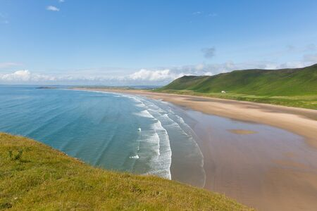 best travel destinations: Rhossili beach The Gower peninsula South Wales one of the best beaches in the UK