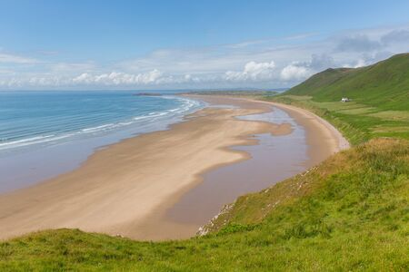 cymru: The Gower coast Rhossili beach South Wales one of the best beaches in the UK Stock Photo
