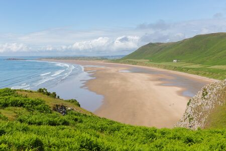 the bay: The Gower South Wales in summer at the beautiful Rhossili beach