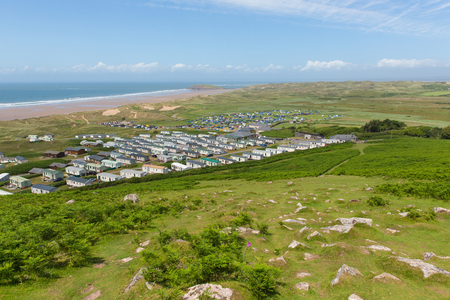 cymru: View from Rhossili Down to Hillend The Gower peninsula Wales UK in summer with caravans and camping on the campsite