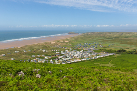 cymru: The Gower coast from Rhossili Down towards Hillend South Wales UK in the Bristol Channel