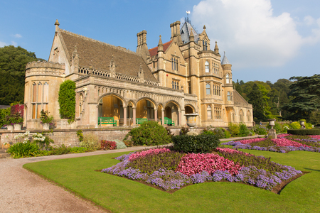 gothic revival: Tyntesfield House near Bristol Somerset England UK a tourist attraction featuring beautiful flower gardens and a Victorian Gothic Revival house and estate gardens  in late September sunshine