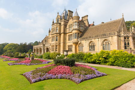 stately: Tyntesfield House mansion near Bristol Somerset England UK a tourist attraction featuring beautiful flower gardens and a Victorian Gothic Revival house and estate gardens  in late September sunshine Editorial