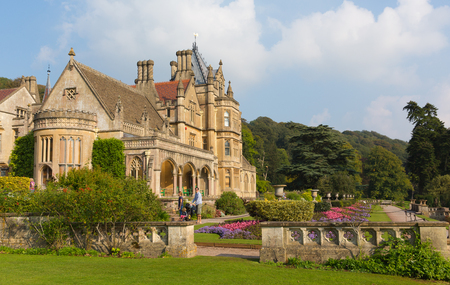 Tyntesfield House near Bristol Somerset England UK a tourist attraction featuring beautiful flower gardens and a Victorian Gothic Revival house and estate gardens  in late September sunshine