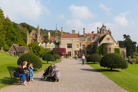 gothic revival: People visiting Tyntesfield House near Bristol Somerset England UK a tourist attraction featuring beautiful flower gardens and a Victorian Gothic Revival house and estate gardens  in late September sunshine Editorial