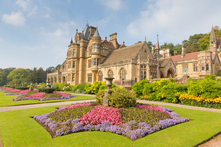 Tyntesfield House Wraxhall north Somerset England UK a tourist attraction featuring beautiful flower gardens and a Victorian Gothic Revival house and estate gardens  in late September sunshine