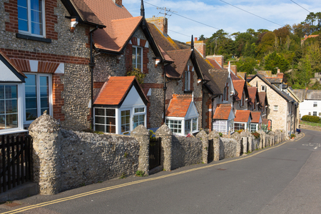 jurassic: Row of cottages in Beer Devon England UK English coastal village on the Jurassic Coast