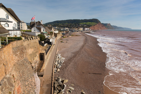 jurassic: Sidmouth beach and seafront Devon England UK with a view along the Jurassic Coast Editorial