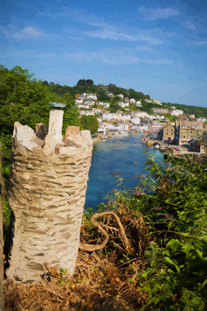 View of Looe town and river Cornwall England like oil painting