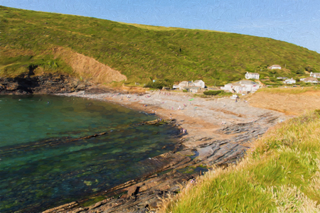 Crackington Haven beach North Cornwall between Bude and Tintagel  England UK South West Coast Path like oil painting