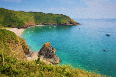 Secluded beach at Lantic Bay Cornwall England near Fowey and Polruan with turquoise and blue sea like oil painting