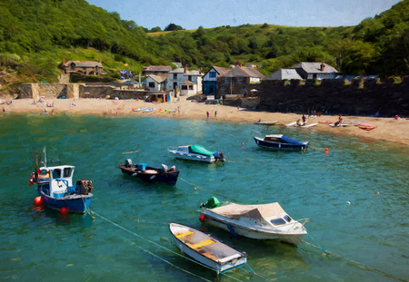 Boats in Polkerris harbour Cornwall England near St Austell and Par like oil painting