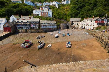 steep: Clovelly harbour Devon England UK beautiful coast village and port oil painting illustration