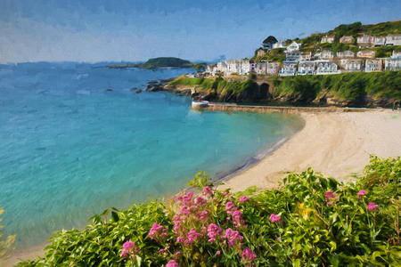 Looe beach Cornwall England with blue sea on a sunny summer day illustration like oil painting