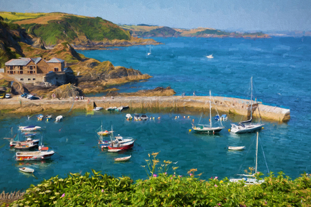 Boats in Mevagissey harbour Cornwall England blue sea and sky on a beautiful summer day illustration like oil painting