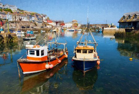 english village: Mevagissey Cornwall England boats in the harbour on a beautiful blue sky summer day illustration like oil painting