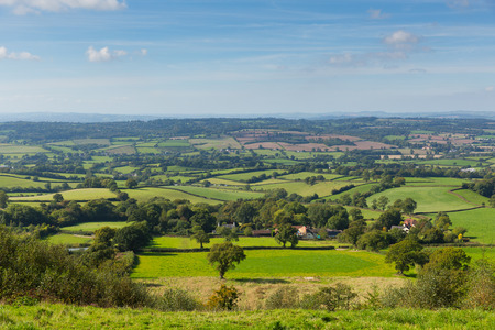 ST: Blackdown Hills east Devon countryside view from East Hill near Ottery St Mary an Area of Outstanding Natural Beauty Stock Photo