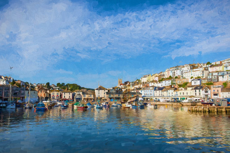 fishing village: Brixham harbour and marina Devon England with boats on a calm day with blue sky illustration like oil painting