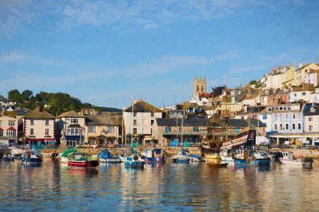 fishing village: English harbour Brixham Devon England with boats on a calm day with blue sky illustration like oil painting Stock Photo