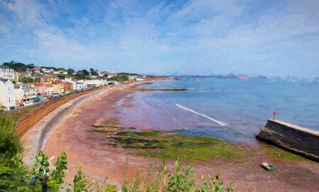 railway track: Dawlish Devon England with beach railway track and sea on blue sky summer day illustration like oil painting before the flood Stock Photo