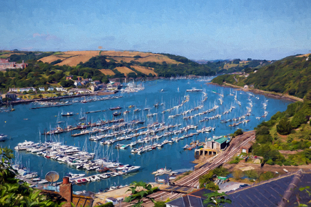 yachts: Boats and yachts Dartmouth Devon on the River Dart illustration like oil painting Stock Photo