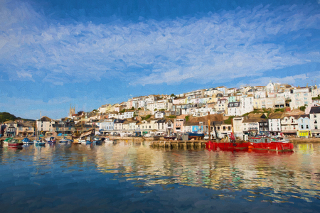 like english: English harbour Brixham Devon England with boats on a calm day with blue sky illustration like oil painting Stock Photo