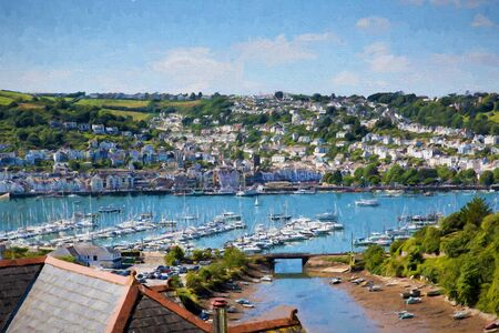 Dartmouth Marina Devon England UK boats and yachts on the river with blue sky illustration like oil painting