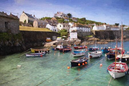 fishing village: Cornish harbour The Lizard Coverack harbour Cornwall England UK coastal fishing village illustration like oil painting