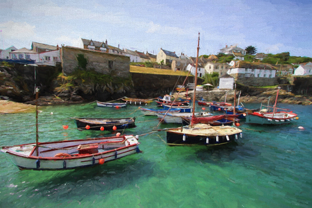 fishing boats: Blue sea and boats Coverack harbour Cornwall England UK coastal fishing village east of the Lizard Peninsula illustration like oil painting Stock Photo