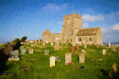english west country: Norman Church of St Nicholas Uphill Weston-super-mare Somerset England UK  illustration like oil painting Stock Photo