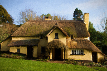 english countryside: English Thatched Cottage Selworthy Somerset England UK illustration like oil painting