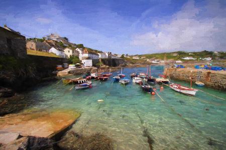 lagartija: coverack puerto de Cornualles Inglaterra Reino Unido pueblo pesquero de la costa este de la península de Lizard ilustración como la pintura al óleo