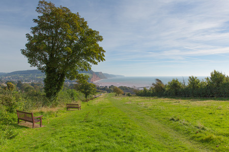 south west england: South west coast path to Sidmouth Devon England uk popular tourist town in an area of Outstanding Natural Beauty and on the Jurassic Coastline Stock Photo