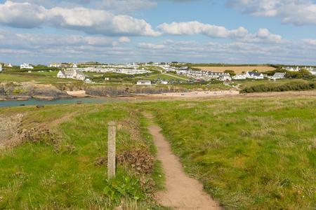 coastal: South west coast path Treyarnon Bay Cornwall England UK Cornish north coast between Newquay and Padstow on a sunny summer blue sky day